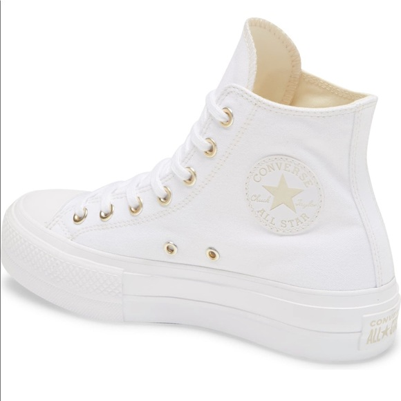 New platform, high-top converse with gold accents